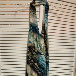 Medium Blue/Black/Tan and Biege Maxi Dress